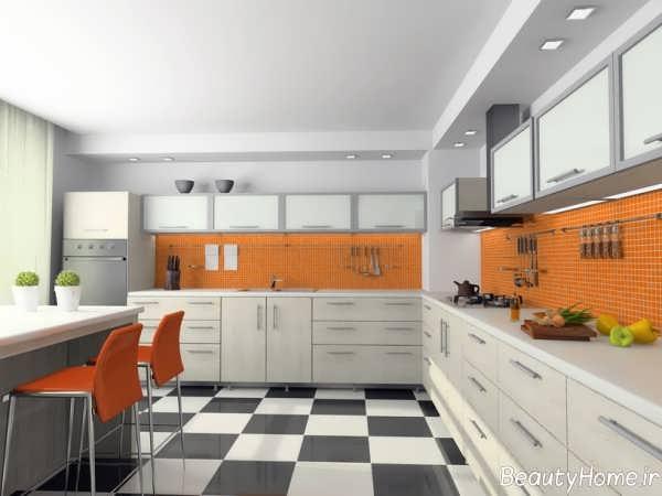 دکوراسیون نارنجی و سفید آشپزخانه