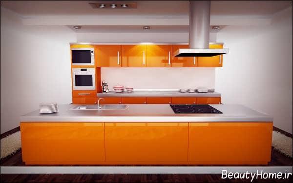 آشپزخانه نارنجی با طراحی شیک و کاربردی