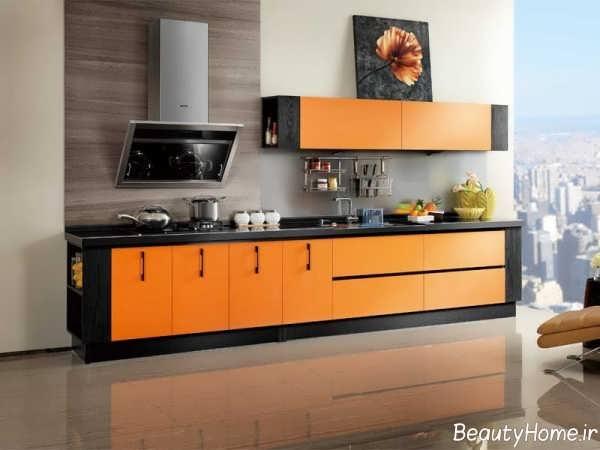 دکوراسیون مشکی و نارنجی آشپزخانه