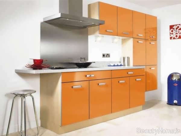 دکوراسیون نارنجی و زیبا آشپزخانه