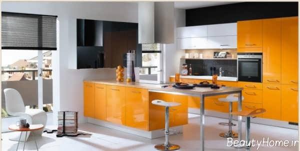 دیزاین آشپزخانه نارنجی
