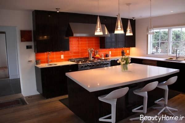 دکوراسیون زیبا و شیک آشپزخانه نارنجی