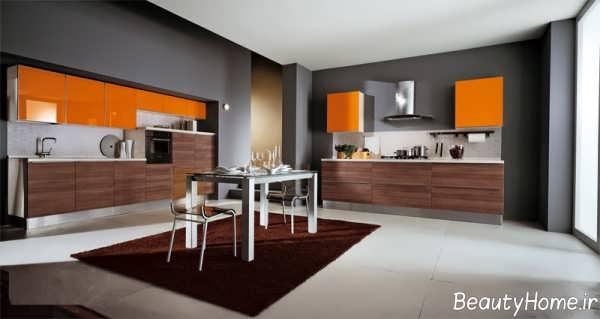 آشپزخانه نارنجی با طراحی زیبا