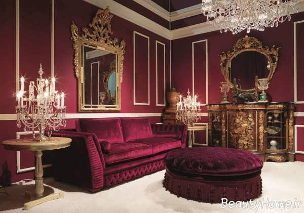 دکوراسیون قرمز سالن پذیرایی سلطنتی
