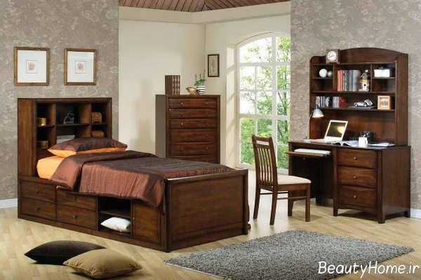 دکوراسیون اتاق خواب قهوه ای پسرانه