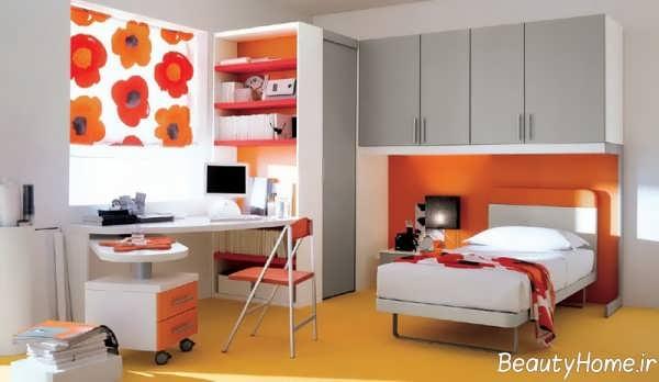دکوراسیون نارنجی و سفید اتاق خواب دخترانه