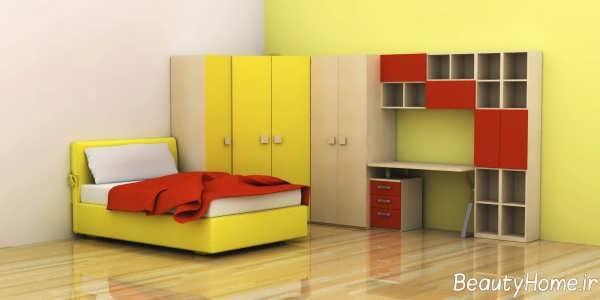 دکوراسیون زرد اتاق خواب جوان