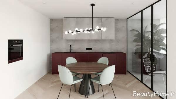 طراحی سالن غذاخوری با دیوار شیشه ای