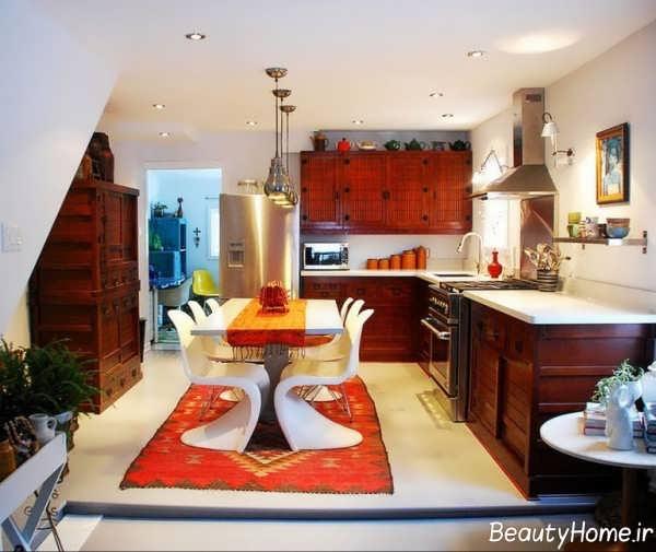 مدل فرش با اشکال هندسی برای آشپزخانه