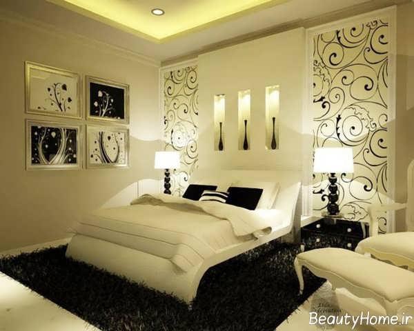 دکوراسیون سفید مشکی اتاق خواب مستر