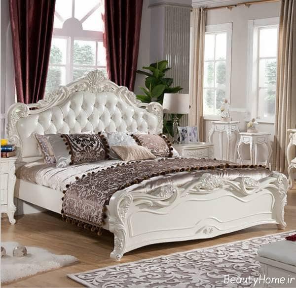 مدل تخت خواب سفید و شیک