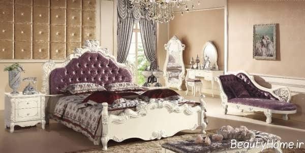 تخت خواب بنفش و زیبا
