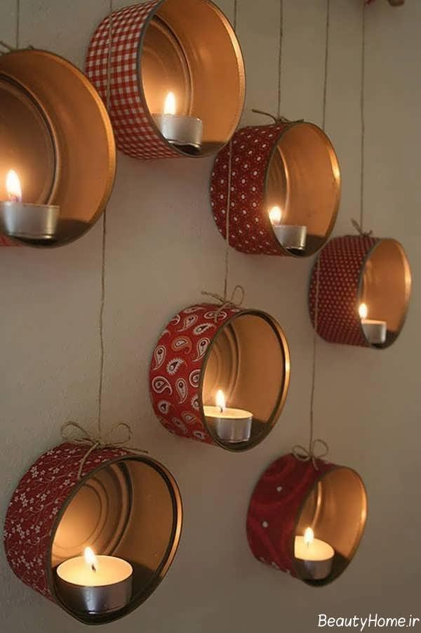 تزیین دیوار اتاق خواب با شمع