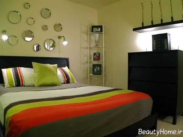 تزیین دیوار اتاق خواب با آینه
