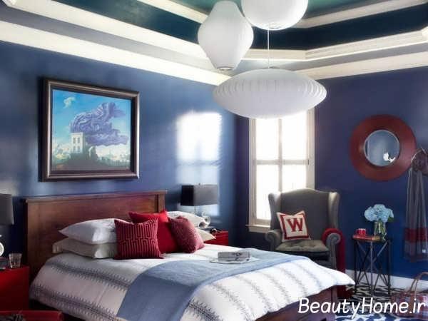 دکوراسیون اتاق خواب قرمز آبی