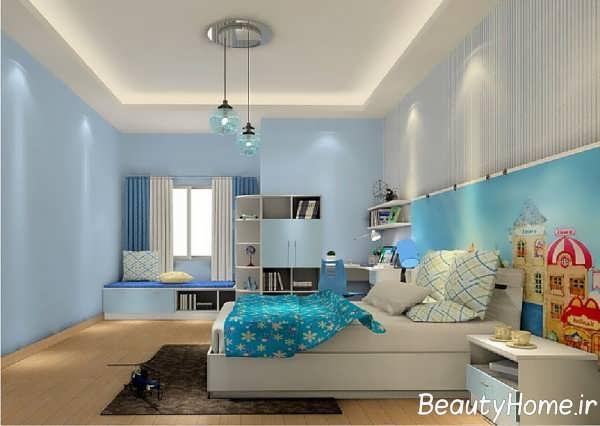 تصاویر دکوراسیون اتاق خواب جذاب آبی روشن