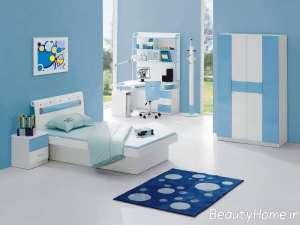 دکوراسیون اتاق خواب دخترانه آبی سفید