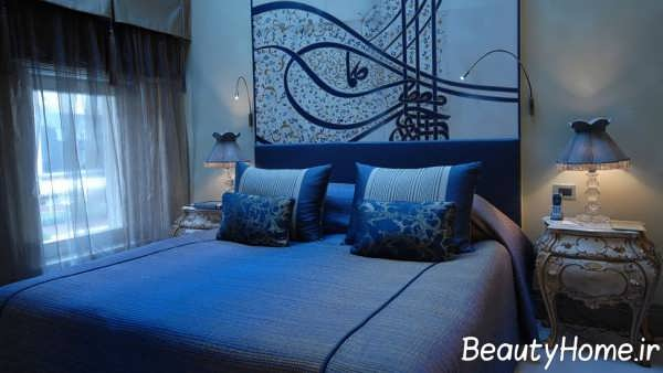 دکوراسیون اتاق خواب زیبا آبی