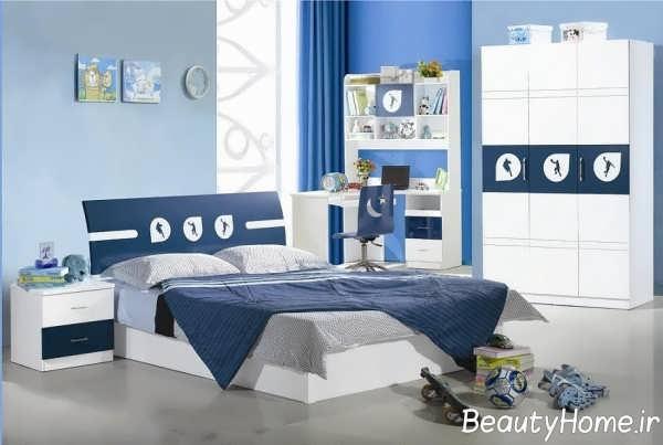 دکوراسیون داخلی اتاق خواب سفید آبی
