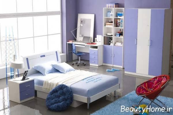 دکوراسیون اتاق خواب یاسی آبی
