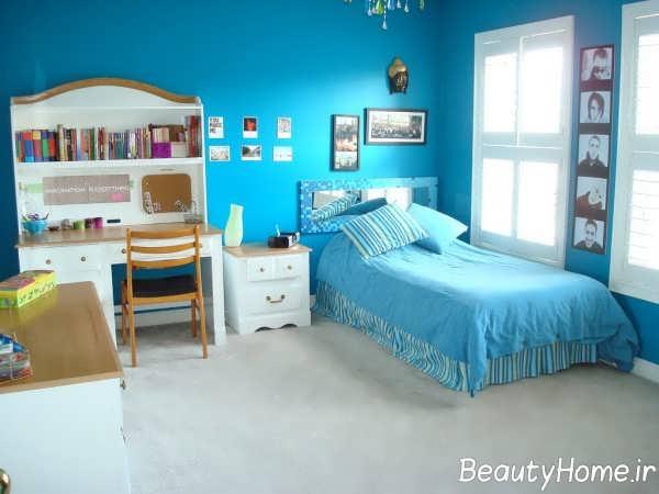 طراحی داخلی اتاق خواب آبی فیروزه ای