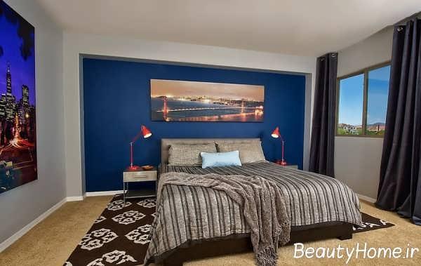 طرح های دکوراسیون اتاق خواب متفاوت آبی قهوه ای