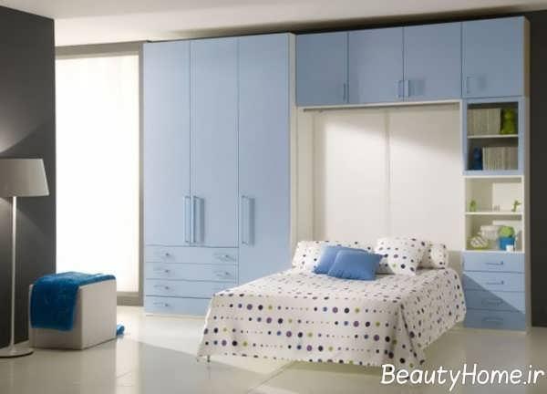 دکوراسیون اتاق خواب بزرگ آبی