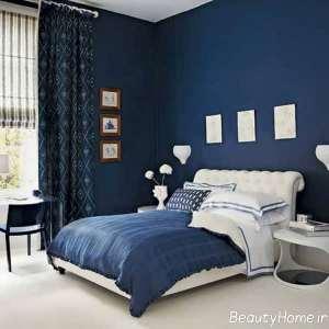 دیزاین اتاق خواب پسر جوان آبی لاجوردی