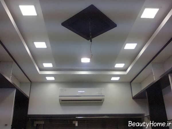 نورپردازی مخفی سقف آشپزخانه بزرگ