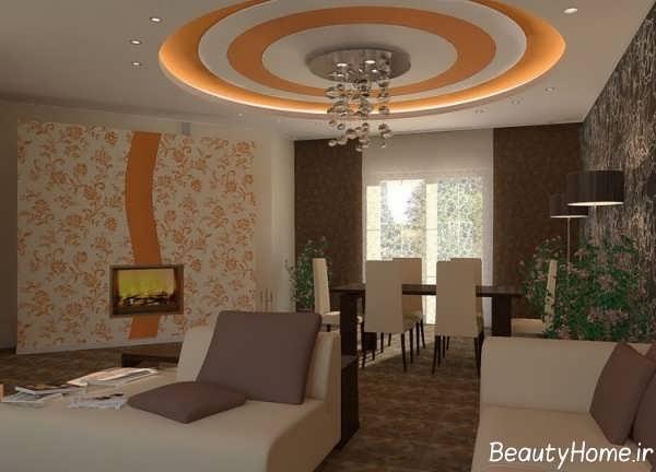 طراحی نور مخفی برای سقف اتاق نشیمن