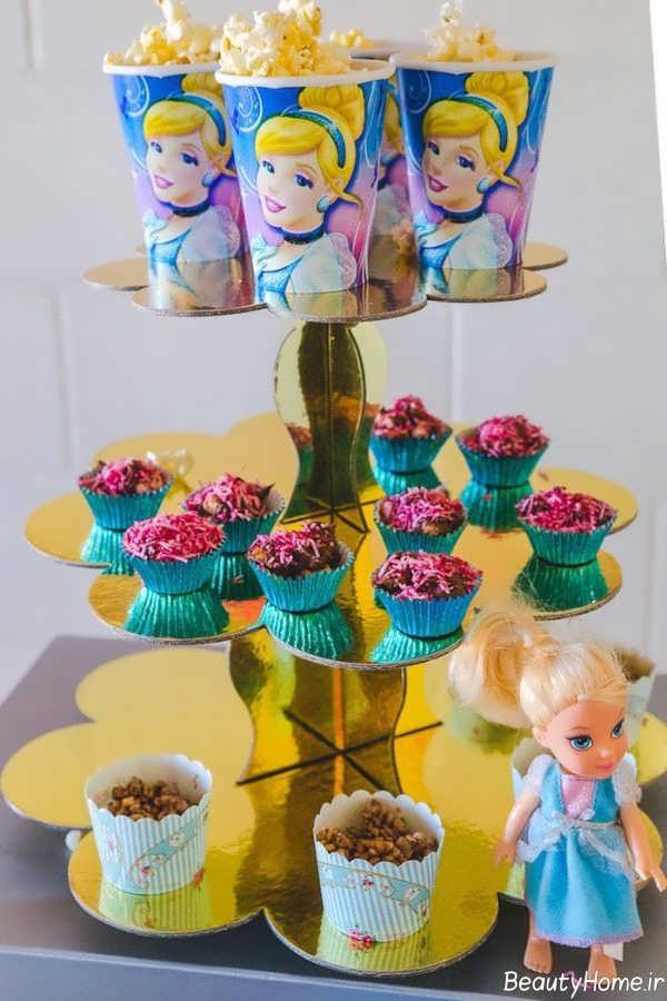تزیین انواع خوراکی ها با تم تولد دخترانه سیندرلا