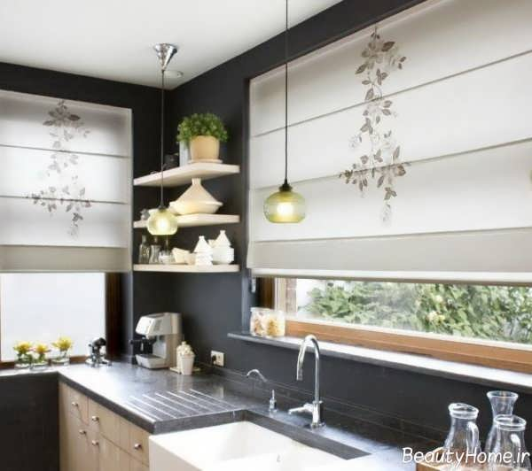 مدل پرده طرح دار و بالارونده برای آشپزخانه
