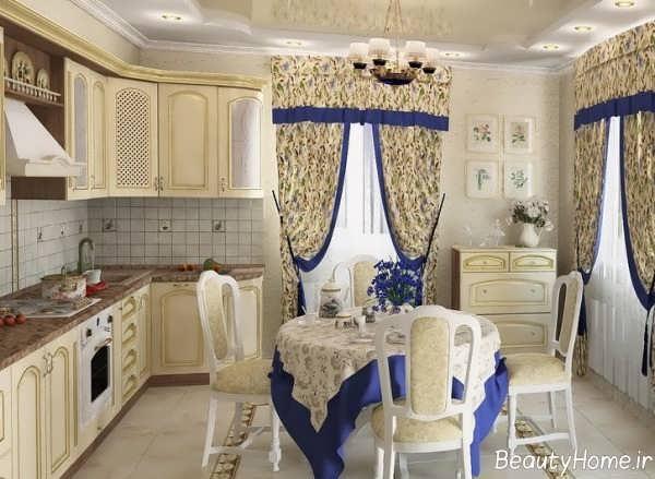مدل پرده طرح دار آشپزخانه