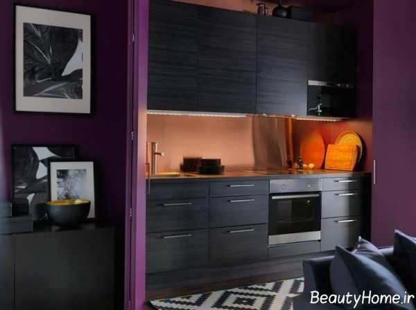 نورپردازی دکوراسیون آشپزخانه با رنگ تیره