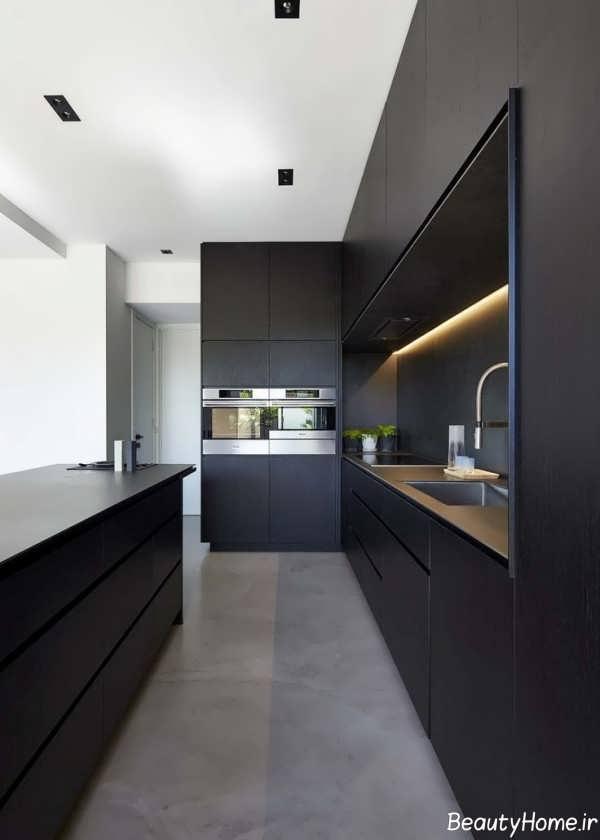 دکوراسیون قهوه ای آشپزخانه های تیره
