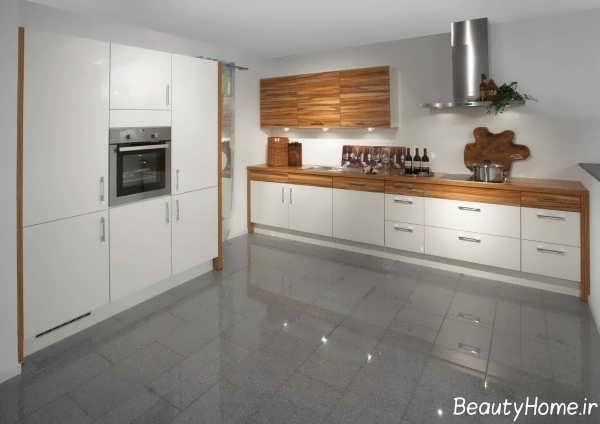 مدل کابینت سفید آشپزخانه هایگلاس