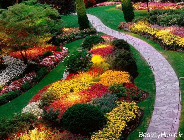 طراحی محوطه با گیاهان و گل های رنگارنگ