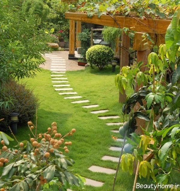 دیزاین محوطه شیک در فضای سبز باغ