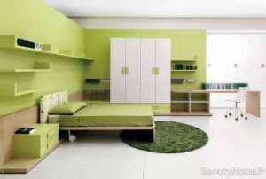 دکوراسیون سفید و سبز اتاق خواب