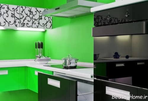 دکوراسیون داخلی آشپزخانه سبز