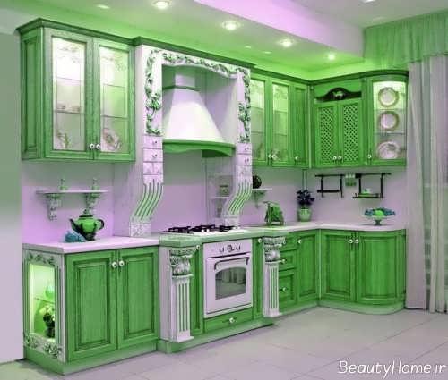 طراحی آشپزخانه سبز کلاسیک