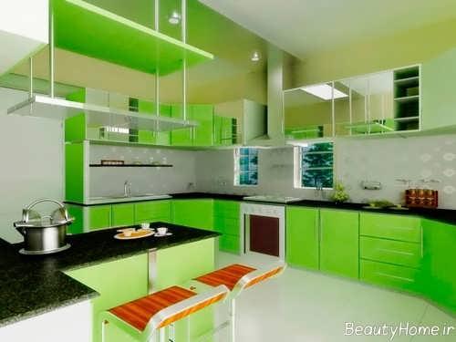 دکوراسیون داخلی سبز آشپزخانه مدرن