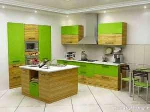 دکوراسیون سبز و قهوه ای آشپزخانه