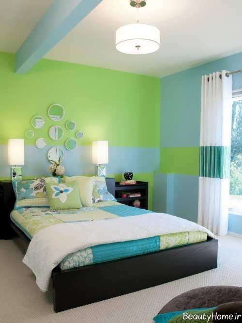 طراحی دکوراسیون اتاق خواب دو نفره با رنگ سبز