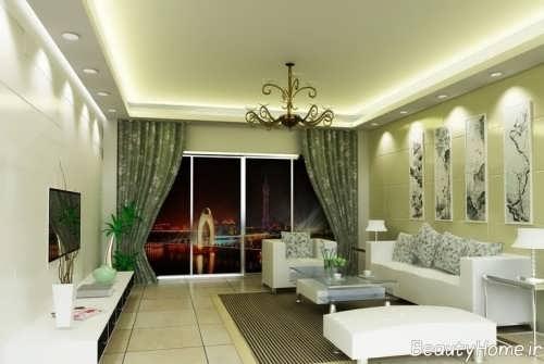 دکوراسیون داخلی سبز اتاق نشیمن مدرن و زیبا