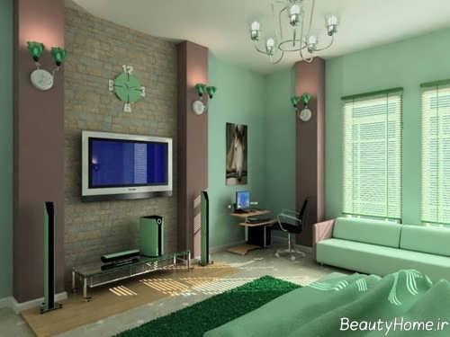 دکوراسیون اتاق نشیمن سبز