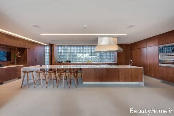 دکوراسیون داخلی آشپزخانه ویلای لاکچری