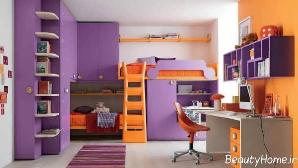 دکوراسیون بنفش و نارنجی اتاق کودک
