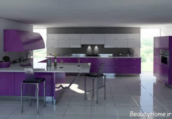دکوراسیون بنفش و خاکستری آشپزخانه