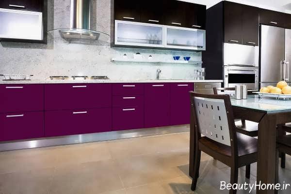 دکوراسیون آشپزخانه بنفش مدرن